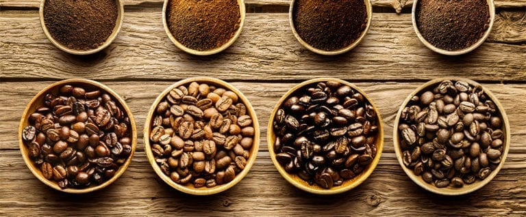 Different Roast Types of Coffee Beans and Ground Coffee